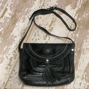 Patricia Nash Studded Tassel Crossbody Leather Bag